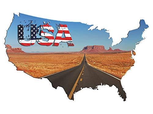 Wandsticker Wandtattoo USA Amerika Route Flagge, echter Fotodruck auf Folie, Zuhause Büro zur Dekoration oder als Geschenk / 93x57cm