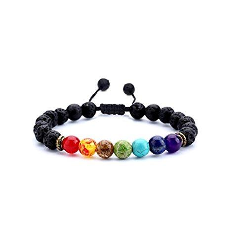Pulseras Para Hombre de piedras de Lava 7 Chakras Ajustable Budha Brazalete Mujer Yoga Zen Accesorios para Dama y Caballero Regalo para Navidad Dia de San Valentin Amor y Amistad Cumpleaños Negra