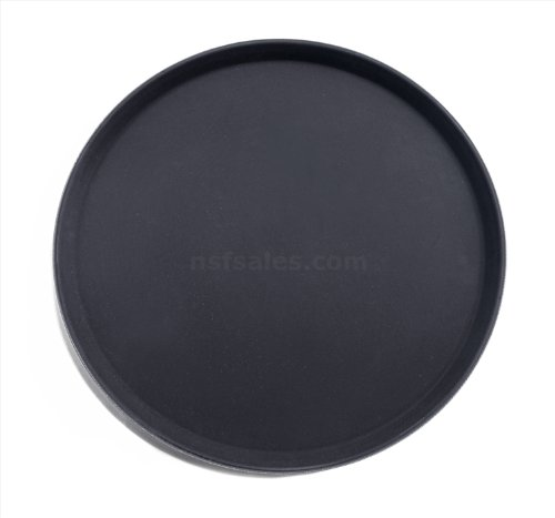 New Star Foodservice 25330 Non-Slip Tray, Plastic, Rubber Lined,  Round, 18 inch, Black