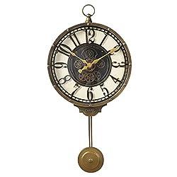 Home Wall Clock European Wrought Iron Wall Clock, Creative Home Living Room Bedroom Silent Pendulum Clock Wall Clock Mute