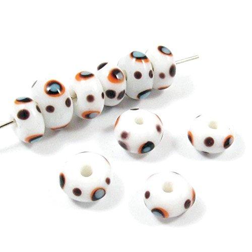 Rondelle Halloween Lampwork Glass Beads-White + Black, Orange DOTS (30) Dots Lampwork Glass Bead