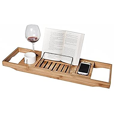 WELLAND Adjustable Bamboo Bathtub Caddy Tray with Extending Sides, Reading Rack, Cup, Books, Cellphone Tray and Tablet Holder