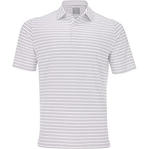 Callaway Fine Line Vent Stripe Polo Shirt, Blanco Brillante, L para Hombre