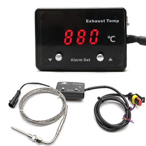 Indicador de temperatura de escape con sensor, pantalla digital LED, pirómetro, medidor...
