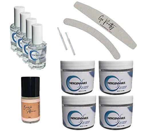 NexGen Nudes & Natural Dipping Powder Starter Kit with 4 x 2oz Dip Powders, 5 x Liquids, 2 x Nail Files, 2 x Brush Stems, Natural Dry, Easy To Use, Long Lasting, No UV Lamp Required (Bitsa)
