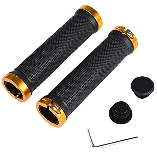 SRJSKR 1 Pair MTB Bicycle Grips Bilateral Lock Bike Handle Bar Grips Bicycle Parts Non-slip Mountain Bike Accessories Bicycle Grips (Color : Black gold)