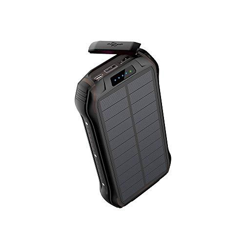 QYRL draagbare zaklamp 26800 mAh zonnelaadoplader snelle Qi draadloze oplader voor iPhone Samsung Power externe batterij, zwart