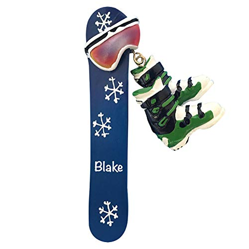 Snowboard & Boots Personalized Ornament - Unique Christmas Tree Ornament - Special Keepsake - Custom Sports Decoration - Personalization Included