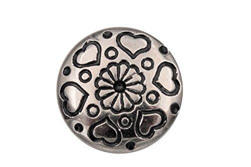 Mooie zilveren glanzende kunststof knopen metalen look met kleine hartjes blouseknoppen Dirndl 6 stuks