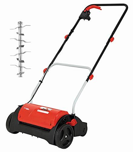 Escarificador eléctrico – 1200W – 31 cm de ancho de trabajo – profundidad central 14 posiciones – mango plegable – ruedas grandes – protección contra sobrecarga – incluye rodillo escarificador estable