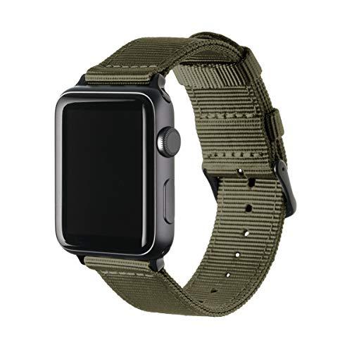 Archer Watch Straps - Nylon Uhrenarmband für Apple Watch - Olivgrün/Schwarz, 42/44mm