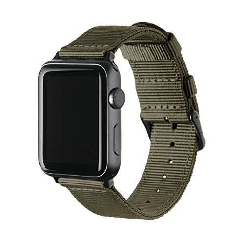 Archer Watch Straps Nylon Uhrenarmband für Apple Watch - Olivgrün/Schwarz, 42/44mm