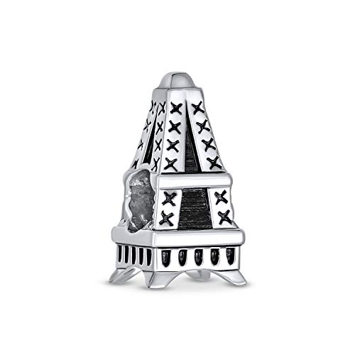 Paris Eiffel Torre Landmark encanto de vacaciones cuenta para las mujeres para adolescentes oxidado 925 plata de ley se adapta a la pulsera europea