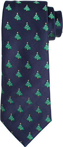 KissTies Blue Tie Xmas Tree Blue Necktie Holiday Dressing + Gift Box