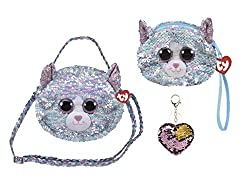 Whimsy Changing Glitzy Sequins Plush Purse With Keychain