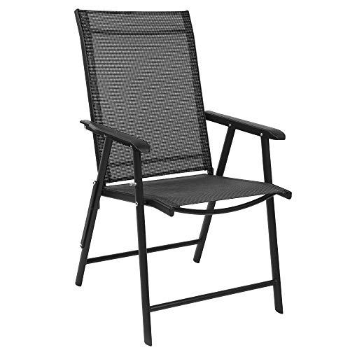 VINGLI Upgraded Folding Chair with Arms, Portable Patio Chairs for Outdoor & Indoor, Sling Back Chairs for Lawn, Pool, Courtyard, Balcony & Garden (Black)