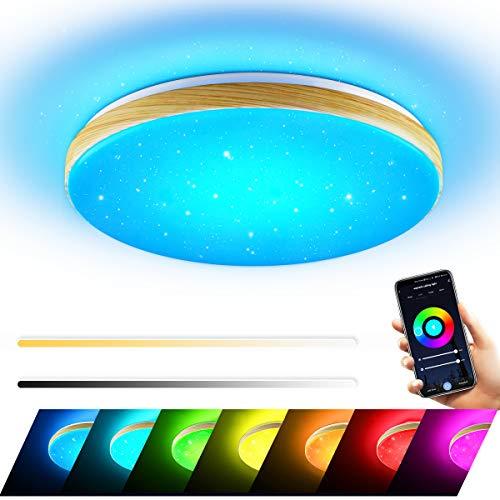 Wayrank Plafoniera LED Soffitto 36W, Lampadario Smart WiFi con Telecomando e Controllo APP, RGB Lampada a Soffitto per Soggiorno Camera da Letto, Compatibile Alexa e Google Home
