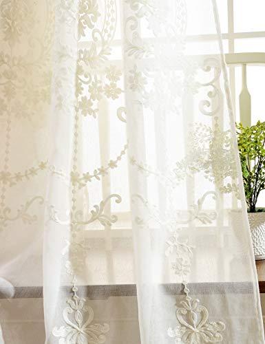 Lactraum Vorhang Wohnzimmer mit Ösen Weiß Tranparent Bestickt Vintage Klassische Voile (Dichte) 145 x 245cm