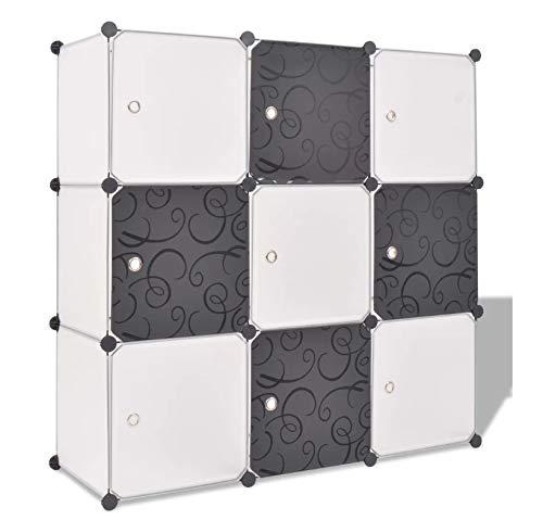 Zerone Estantería de Cubos con Puertas, Armario de Almacenamiento Modular de 9 Compartimentos, 110 x 37 x 110 cm
