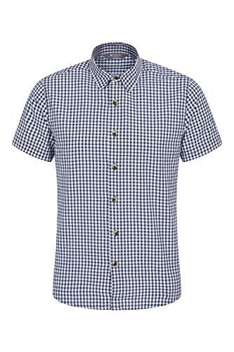 Mountain Warehouse Weekender Kurzarmhemd für Herren - Sommerhemd aus 100% Baumwolle, Freizeithemd, atmungsaktiv Kariertes Hemd, bequemes Oberteil Kurzarm-Shirt Marineblau 3XL