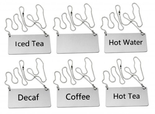"""New Star Foodservice 27549 Stainless Steel Table Tent Chain Sign Combo, Includes (Coffee), (Decaf), (Hot Tea), (Iced Tea), (Hot Water), and (Blank), 3.5""""x 1.5"""", Combo Set of 6"""