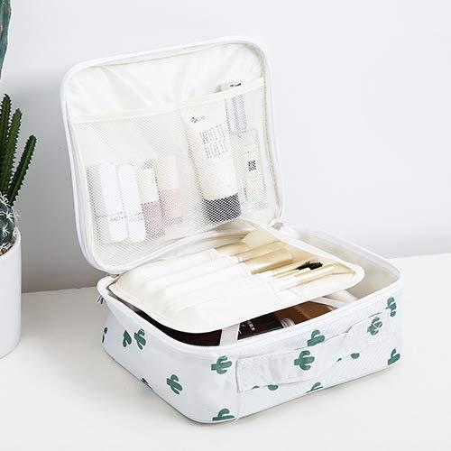 Sac cosmétique Portable Net Rouge Grande capacité Multifonctionnel Sac de Rangement cosmétique 24 * 21 * 10CM Un Cactus Blanc