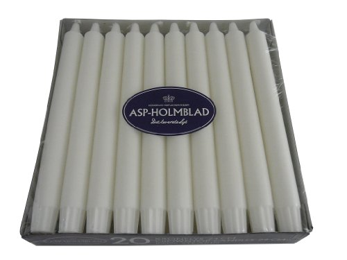 20 Hochwertige Dänische Stearinkerzen - Stabkerzen, Leuchterkerzen, 240 x 23 mm, Weiß durchgefärbt, Kerzen für Kutschenlampen
