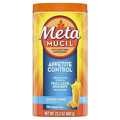 Metamucil Appetite Control Fiber, 4-in-1 Psyllium Fiber Supplement, Sugar Free Powder, Orange Zest Flavored Drink, 57 Servings