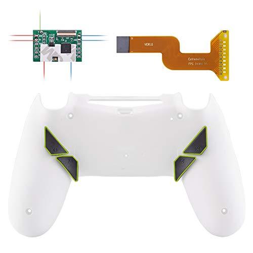 eXtremeRate Dawn Programable Remap Kit Botón de Reasignación para Playstaion 4 con Board de Actuelización&Carcasa Trasera Diseñada&4 Botones Traseros para Mando PS4 JDM 040/050/055(Blanco Esme