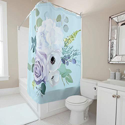 Lind88 Cortina de ducha con diseño de flores, tela moderna, ganchos incluidos, para decoración de cuarto de baño, color blanco, 200 x 200 cm