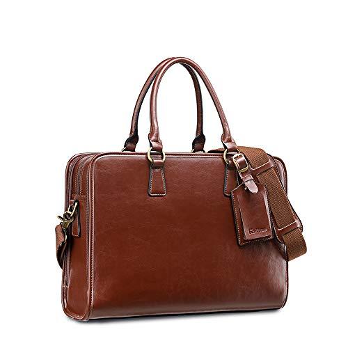 Kattee Vintage Womens Leather Briefcase fits 14' Laptop Bag Work Handbag w/ 3 Compartments, Unisex Large Business Shoulder Work Bags