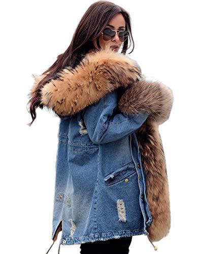 Aofur Plus Size Women's Long Hooded Parka Coat Warm Winter Overcoat Faux Fur Collar Qulited Jacket (XX-Large, Classic Denim)