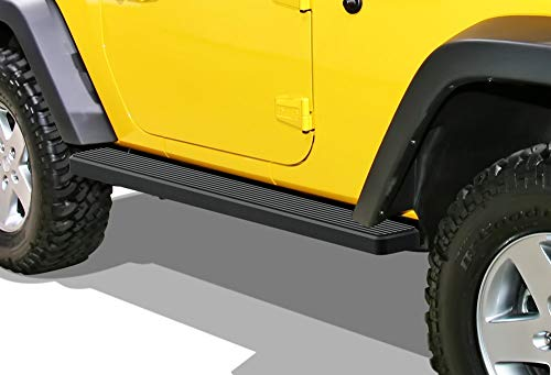 APS iBoard (Black Powder Coated 5in) Running Boards Nerf Bars Side Steps Step Rails Compatible with 2007-2018 Wrangler JK Sport Utility 2-Door (Factory Sidesteps or Rock Rails Have to Be Removed)