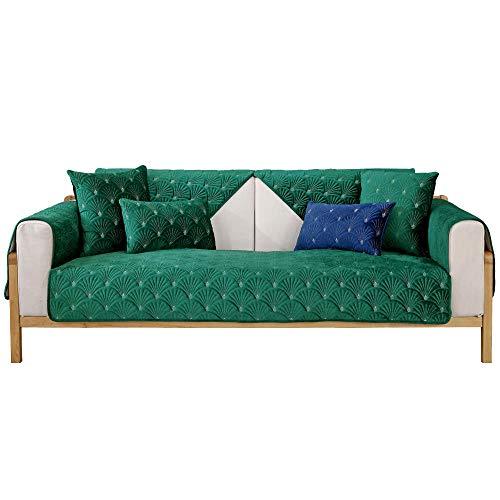 YUTJK Nicht elastisch Sofa überwurf Chaise Longue Linke und rechte Liege, frontansicht, Chenille, Soft 3D Plüsch Warm Sofa Pad, Für Haustier Hund, Grün