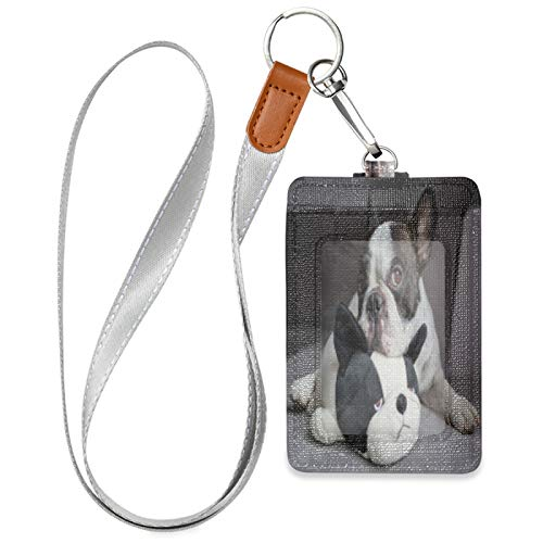 HMZXZ Animal French Bulldog ID Badge Holder with Lanyard Detachable Keychain PU Leather Vertical ID Card Case for Woman Men Teacher Office Worker Student