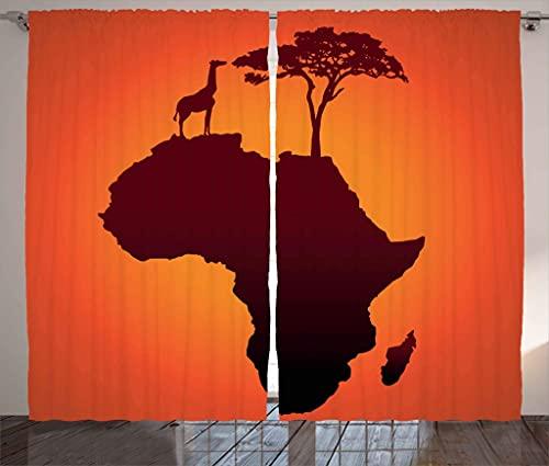 Afrikanische Gardinen, Safari-Karte, Kontinent, Giraffe & Baum-Silhouette, Savanne, Wild-Design, für Wohnzimmer, Schlafzimmer, Fenster, 2-teiliges Set, 132,1 x 182,9 cm, orangebraun