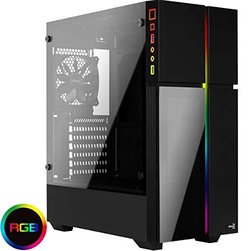 Aerocool PLAYAXL, Caja PC ATX RGB, Cristal Templado+Panel Frontal, Negro