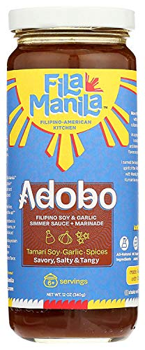 Fila Manila Filipino Adobo – Filipino Simmer Sauce & Marinade – Wheat-Free Tamari Soy Sauce, Garlic, & Onion, 12 oz jar, Mild, Vegan, No MSG, No Sugar Added, Gluten Free, Dairy Free, Made in the USA