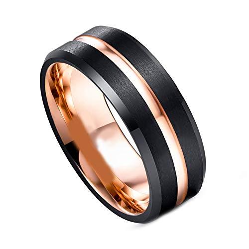 litulituhallo Anillo de boda de carburo de tungsteno pulido de 8 mm de ancho, color negro y oro rosa