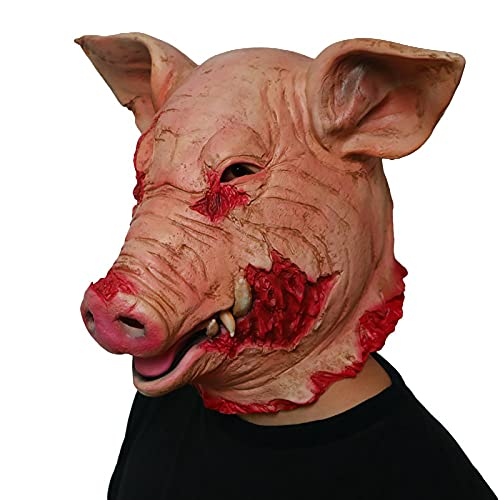 ifkoo Latex Scary Pig Head Mask Halloween Costume Cosplay Props Bloody...