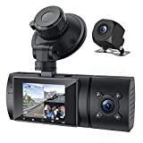 3 Channel Dash Cam 1080P with GPS Front Rear and Inside Car Camera with IR Night Vision Dashboard Camera Dashcam for Cars HDR Parking Monitor