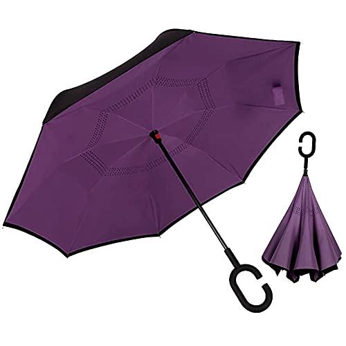 J.S ONDO Paraguas Invertido Mango Tipo C, Plegable Manos Libres 80cm Cerrado Mujer, Paraguas Automático, Resistente Al Viento, Color Lila