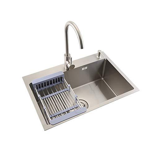 TONGSH Fregadero, fregadero de cocina de un solo tazón de montaje superior/de montaje superior, fiambres de acero inigualables con agua con agua caliente y fría, con orificio de grifo y agujero disp