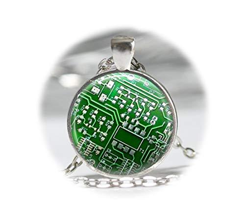 Ordenador collar verde circuito Junta ordenador Chip Colgante