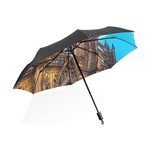 Herren Regenschirme Wunderschöne Romantische Kölner Dom Tragbare Kompakte Taschenschirm Anti Uv Schutz Winddicht Outdoor Reise Frauen Regenschirm Invertiert