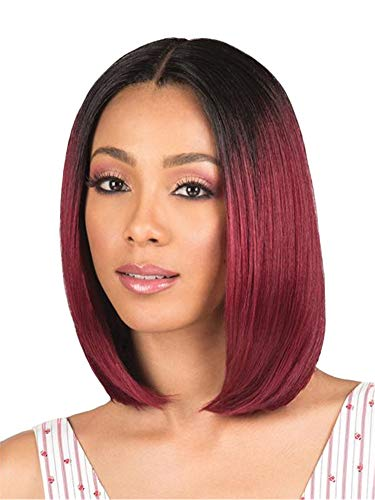 Andongnywell Short Bob Human Hair Wine Red Lace Front Wigs Silky Straight Density Bob Wigs for Black Women (Wine Red,One Size,)
