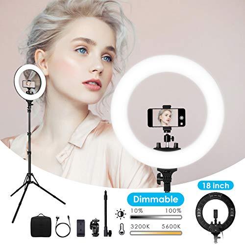 """Anillo de Luz 18""""- amzdeal 48cm 432pcs LED 3200K-5600K CRI>91 Brillo Regulable..."""