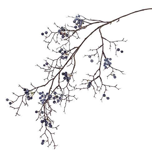 PARC Network - Künstlicher Schneebeeren Zweig, mit Beeren, blau, 100cm - Künstlicher Beerenzweig - Kunstzweig - Dekozweig - Kunst Schneebeerenzweig