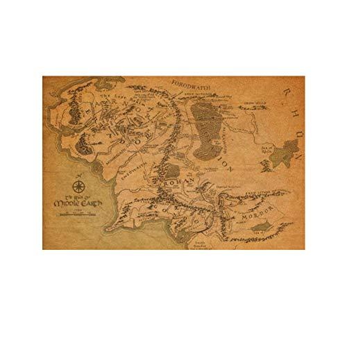 Bluelover El Señor De Lo Anillo Tierra Media Mapa Retro Kraft Papel Afiche ✅