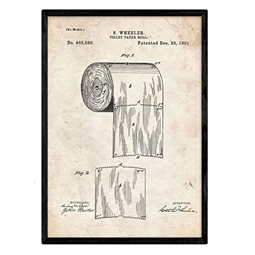 Poster Nacnic patent toiletpapier. Blad met oud designoctrooi op A3-formaat en vintage achtergrond